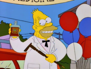Grandpa Simpson selling some 'revitalizing tonic,' from Simpsons episode 2F07.