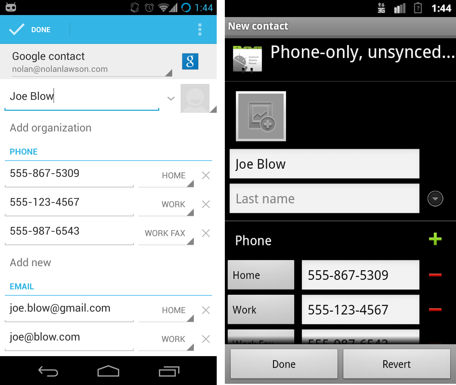 Adding A Contact In Jelly Bean And Gingerbread