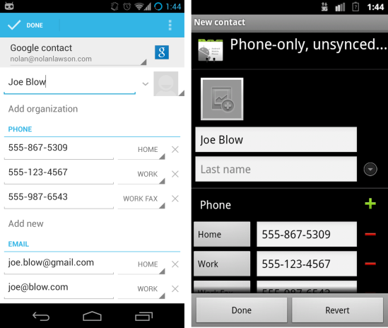Creating A Contact With Multiple Fields In Android