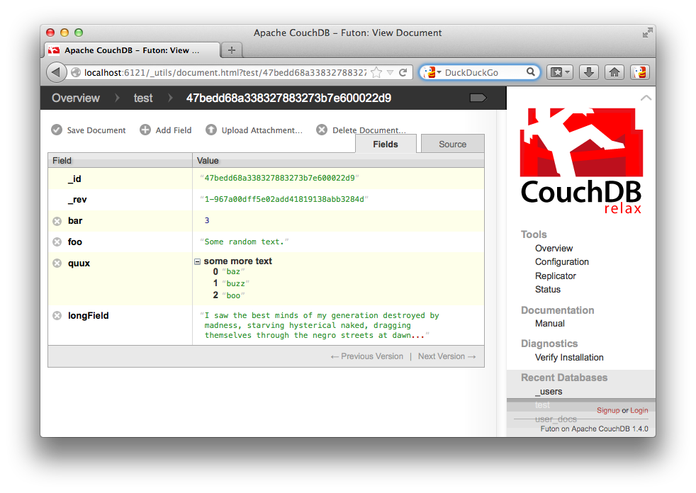 Medium image of futon interface in couchdb   u201c