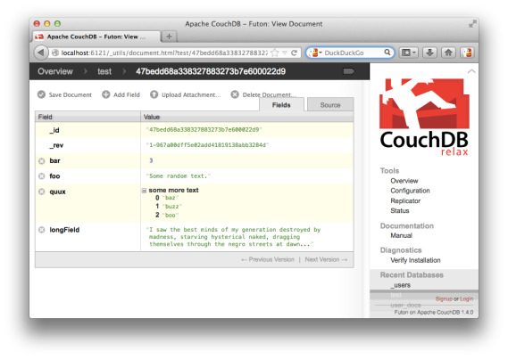 Futon interface in CouchDB
