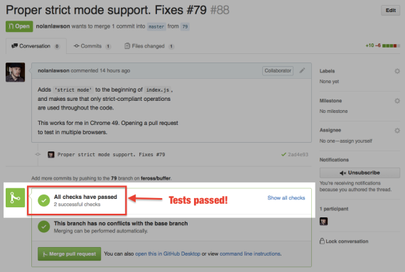 Github UI showing the test results