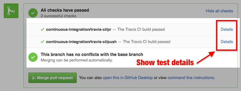 Github UI showing all checks