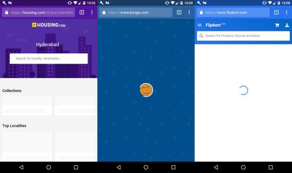 Screenshots of Housing.com, Konga, and Flipkart without JavaScript