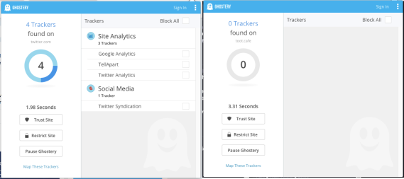 Screenshot of Ghostery showing 4 trackers blocked on Twitter.com vs 0 for toot.cafe