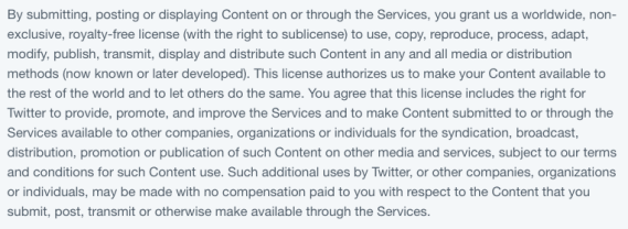 "Screenshot of https://twitter.com/en/tos#usContent starting from ""By submitting, posting or displaying Content..."""