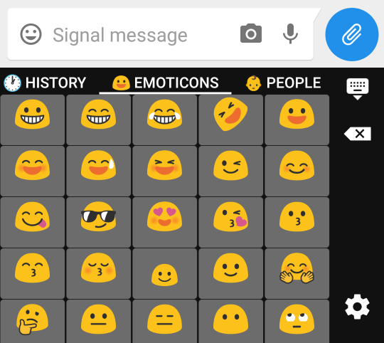 Screenshot of sending an emoji via AnySoftKeyboard and Signal