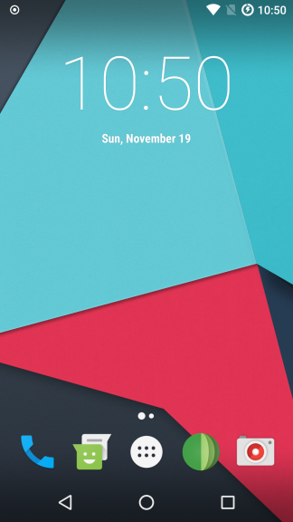 Screenshot of default homescreen on LineageOS