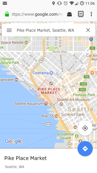 Screenshot of Google Maps running in Firefox