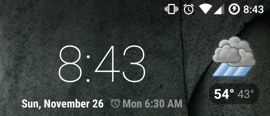 Screenshot of weather and time widget on my homescreen