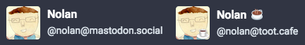 Screenshot of two Mastodon avatars, one with a subtle coffee icon and one without