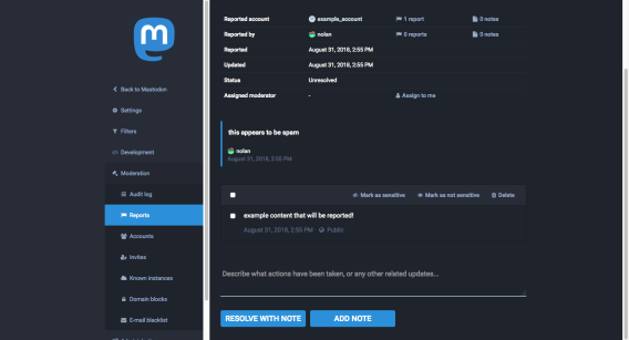 Screenshot of the Mastodon moderation UI