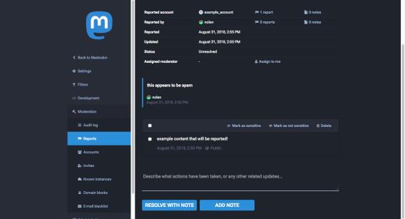 Screenshot of the Mastodon moderation UI