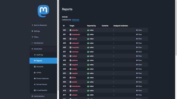 Screenshot of a list of reports in the Mastodon moderation UI