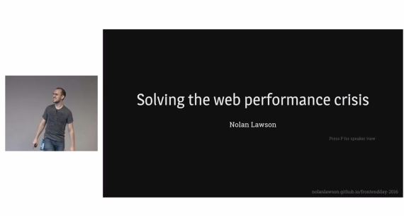 "Photo of me delivering the talk ""Solving the web performance crisis"", a talk I gave on web performance"