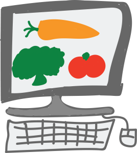 Hand draw picture of a computer with vegetables on the screen