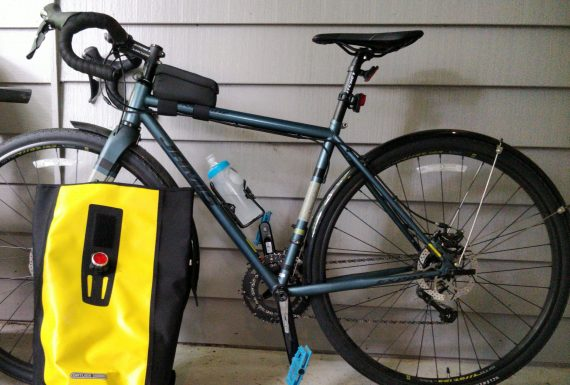 Photo of my bike and yellow backpack