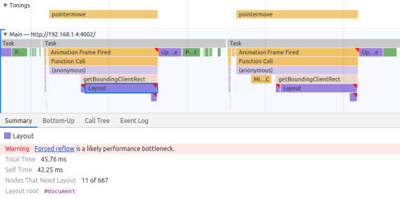 "Chrome Dev Tools screenshot of layout thrashing, showing two pointermove events with large Layout blocks and the text ""Forced reflow is a likely performance bottleneck"""