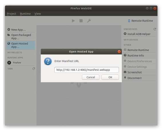 Screenshot of WebIDE showing a local manifest URL entered into the Hosted App popup