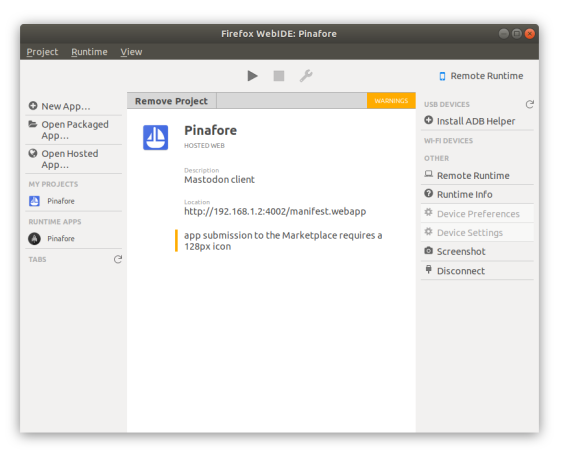 Screenshot of WebIDE showing Pinafore as a hosted app