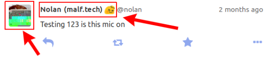 Screenshot showing a Mastodon post with red rectangles around the user avatar and the user name