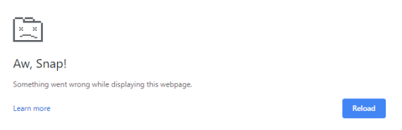 "Chrome page saying ""Aw snap! Something went wrong while displaying this web page."""