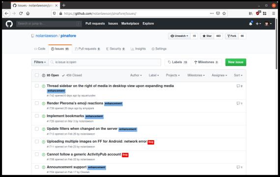 Screenshot of GitHub rendered in Nimbus Sans