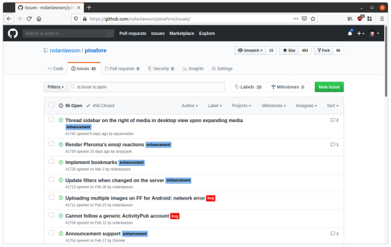 Screenshot of GitHub rendered in Liberation Sans