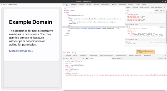 Screenshot of debugging example.com in iOS Safari in Chrome DevTools on Linux, showing some iOS-specific APIs in the console