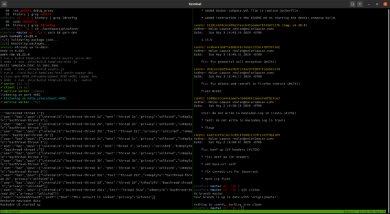 Screenshot of tmux running in Ubuntu with a few panes open
