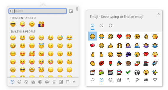 Screenshot of the built-in emoji pickers on macOS and Windows