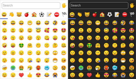 Screenshot of emoji-picker-element, an emoji picker, in light and dark mode, with grids of emoji faces