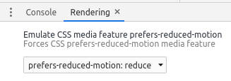 "Screenshot of Chrome DevTools ""prefers reduced motion"" Rendering setting"