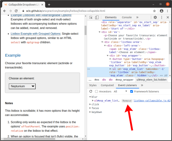 "Screenshot of Chrome DevTools on the W3C collapsible listbox example, showing an arrow pointing at the ""remove"" button in DevTools next to the ""blur"" listener in the Event Listeners section"