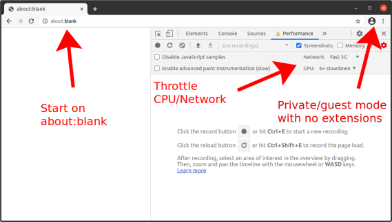 Screenshot of Chrome DevTools showing a page on about:blank, the CPU Throttling set to 6x, Network Throttling set to Fast 3G, and in a guest browsing window with no extensions